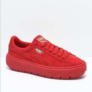 red suede puma creepers